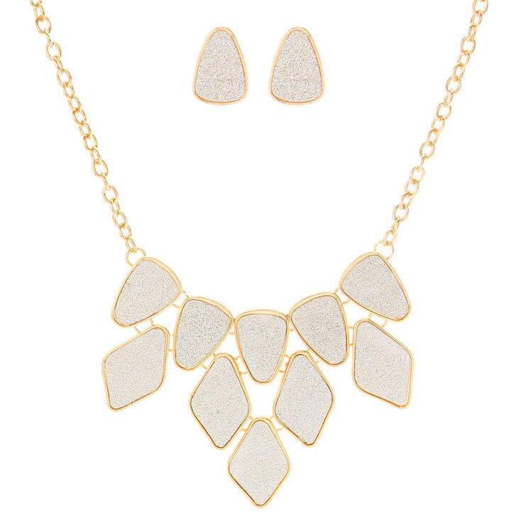 Gold Glitter Tape Statement Necklace & Earrings Set,