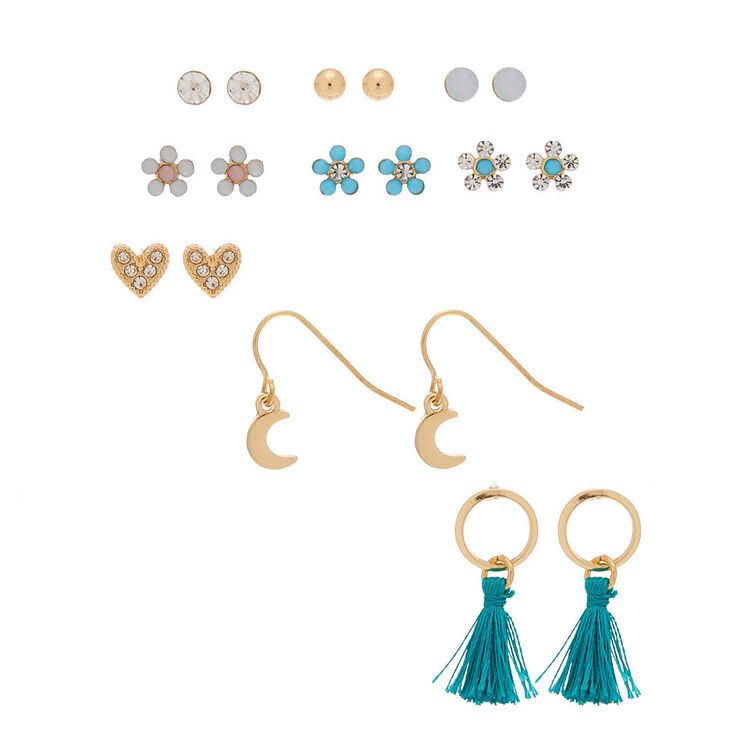 Gold Mixed Earrings - Turquoise, 9 Pack,