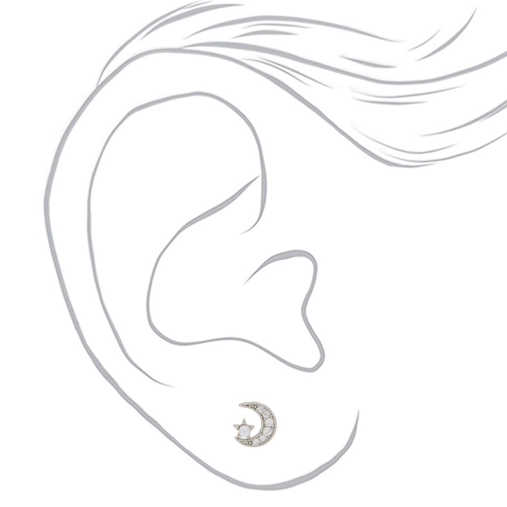 Sterling Silver Pearl Moon Stud Earrings,
