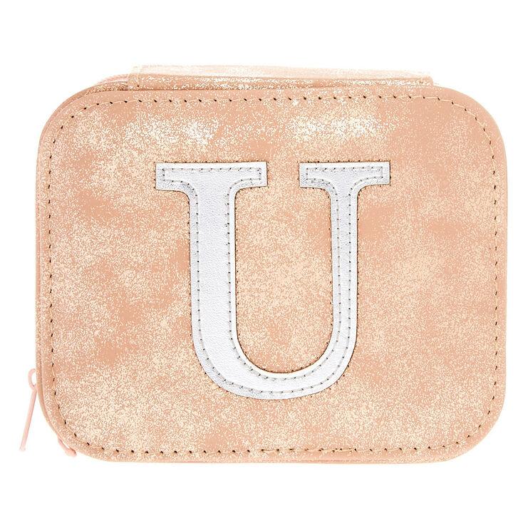 """Blush Pink """"U"""" Initial Jewelry Case,"""