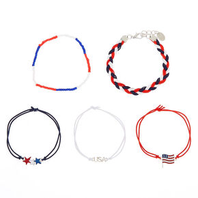 USA Stars & Stripes Mixed Bracelets - 5 Pack,