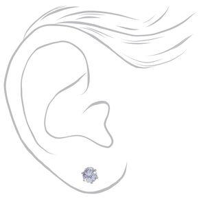 Silver Cubic Zirconia Round Stud Earrings - 3MM, 4MM, 5MM,