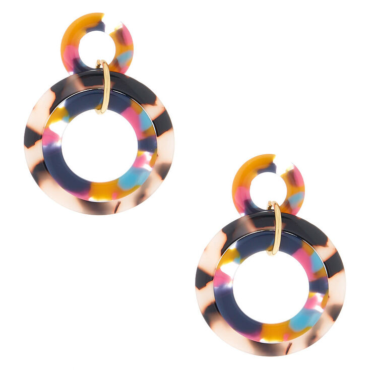 "Gold 2"" Layered Rainbow Resin Tortoiseshell Drop Earrings,"