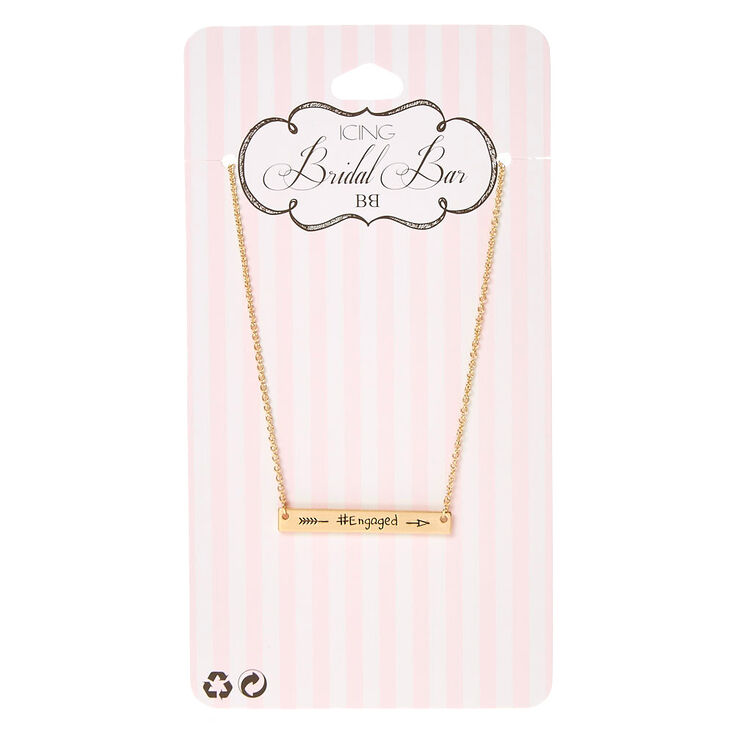 Gold-Tone #ENGAGED Bar Necklace,