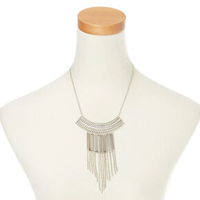 Metallic Fringe Bib Pendant Necklace,