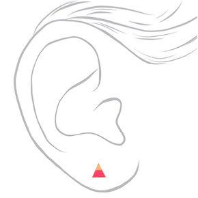 Gold Triangle Neon Stud Earrings - Pink,