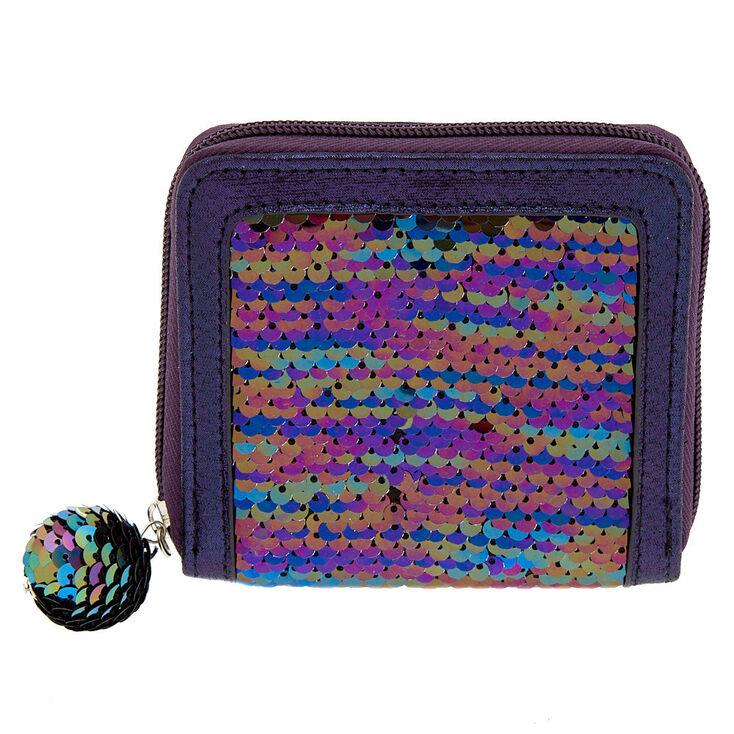 Reversible Sequin Oil Slick Mini Zip Wallet - Purple,