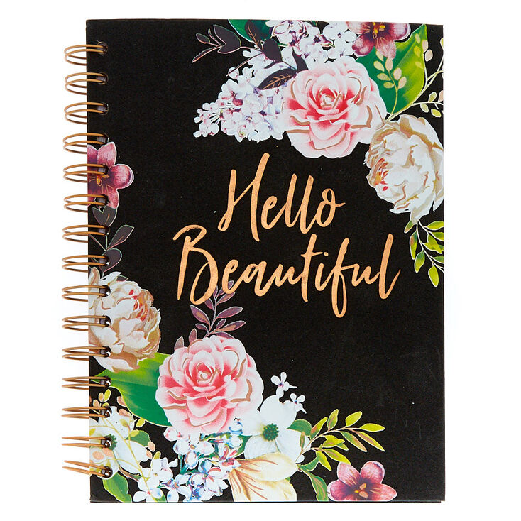 Floral Hello Beautiful Notebook - Black,