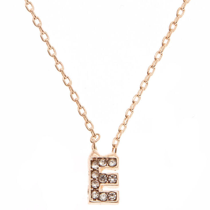 """Rose Gold Studded """"E"""" Initial Necklace,"""