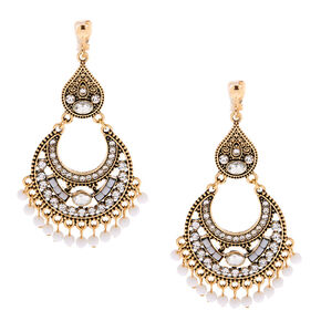 "Gold 2.5"" Beaded Filigree Clip On Drop Earrings - White,"