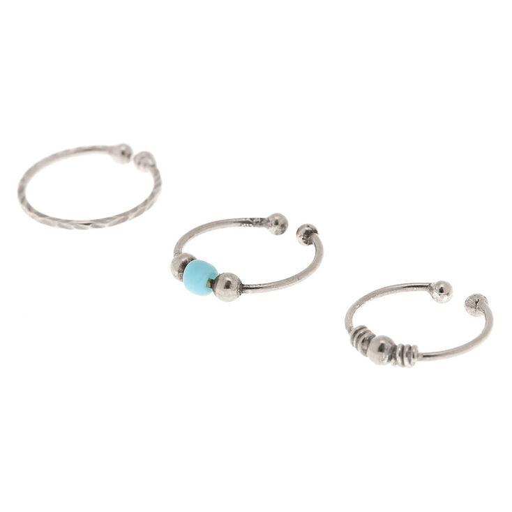 Sterling Silver Mixed Stone Faux Cartilage Hoop Earrings - Turquoise, 3 Pack,