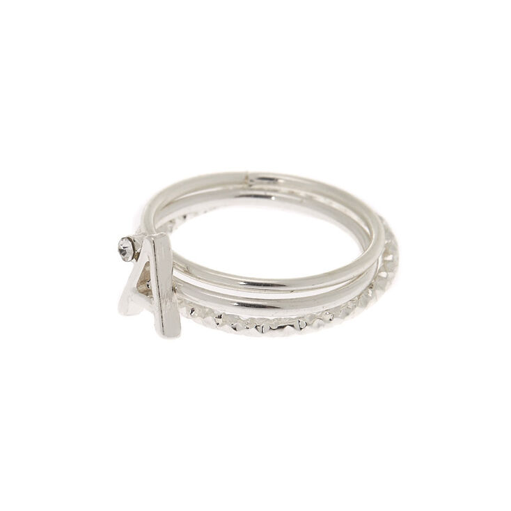 Silver Initial Midi Rings - A, 3 Pack,
