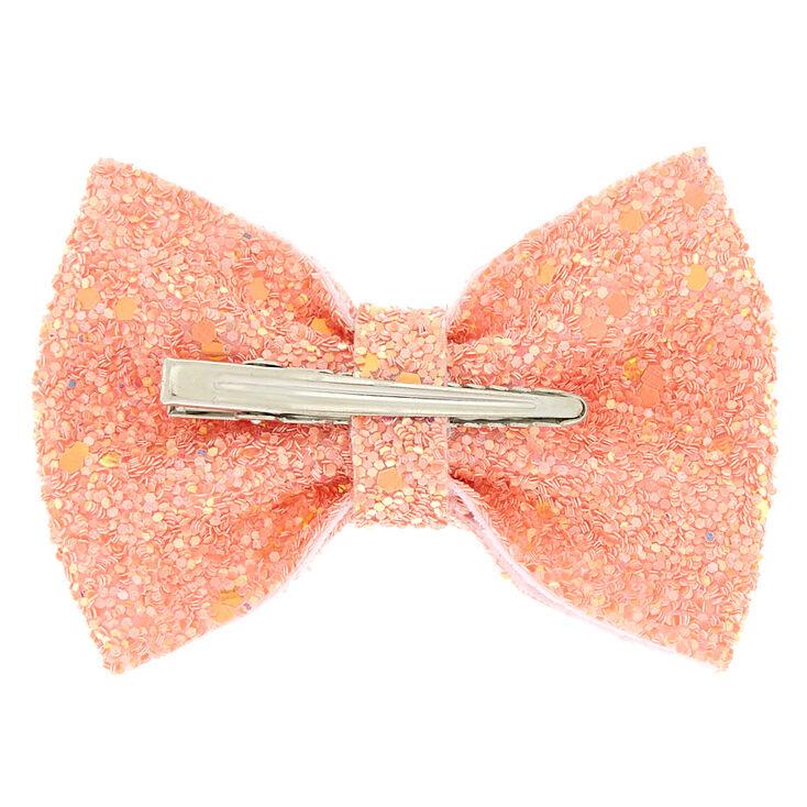 Mini Cake Glitter Hair Bow Clip - Rose Gold,