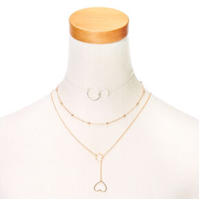 Mixed Metal Y-Neck Choker Necklace Set,