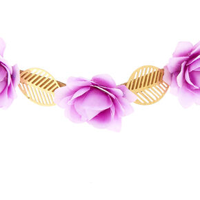 Gold Leaves & Rose Flower Crown - Lilac,