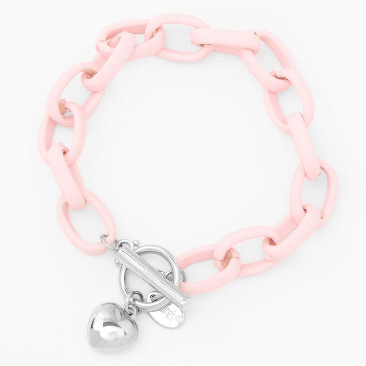 Silver Heart Rubber Chain Bracelet - Pink,