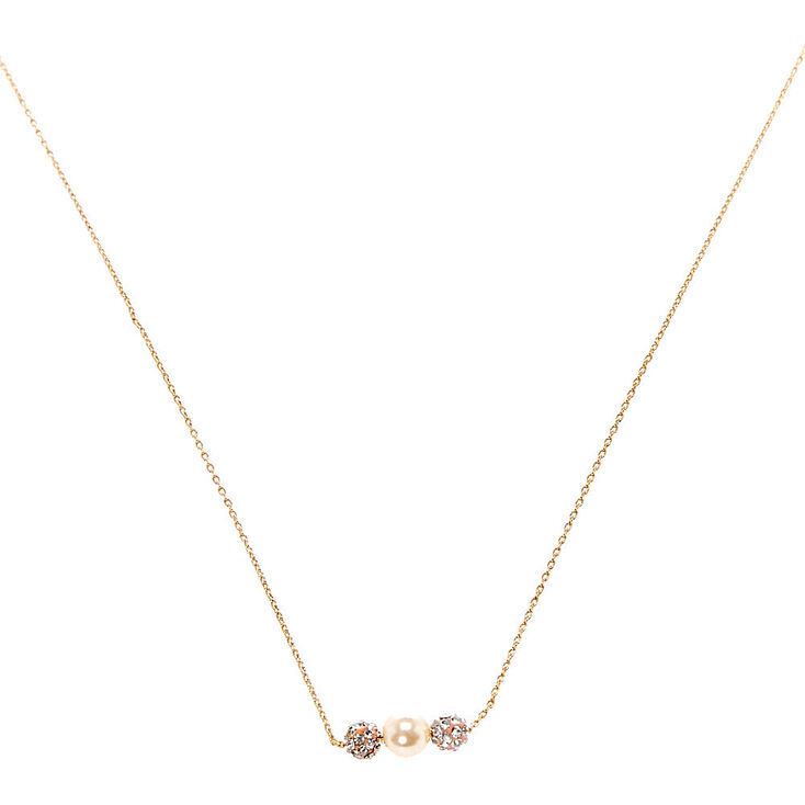 Champagne Faux Pearl Necklace,
