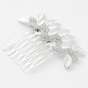 Silver Pave Rhinestone Leaf Hair Comb,