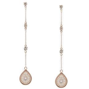 Rose Gold-Tone Teardrop Long Dangle Earrings,