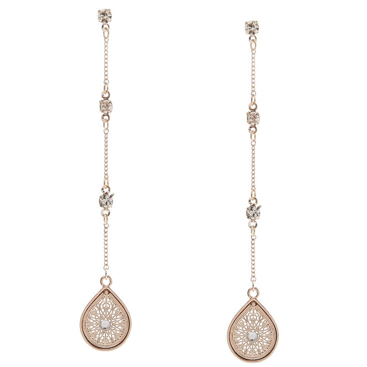 Rose Gold Tone Teardrop Long Dangle Earrings