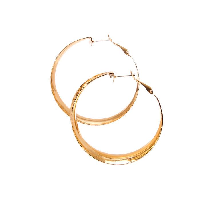 Gold Tone Hammered Wide Curved Hoop Earrings,