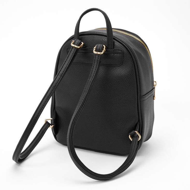 Faux Leather Pearl Studded Small Backpack - Black,