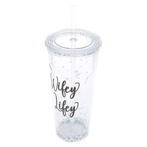Shaker Glitter Wifey For Lifey Tumbler Cup - Silver,