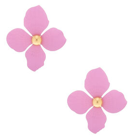 "Gold 2"" Flower Drop Earrings - Lavender,"