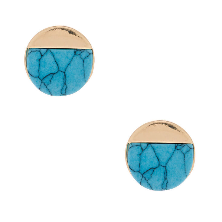 Gold Marble Stud Earrings - Turquoise,