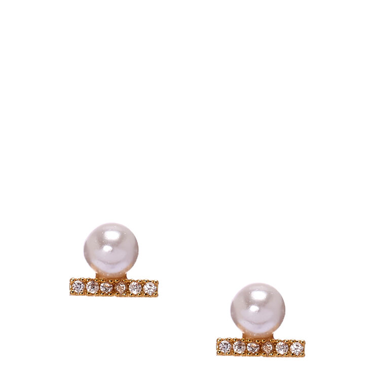 Gold Plated Pearl Bar Cubic Zirconia Earrings,