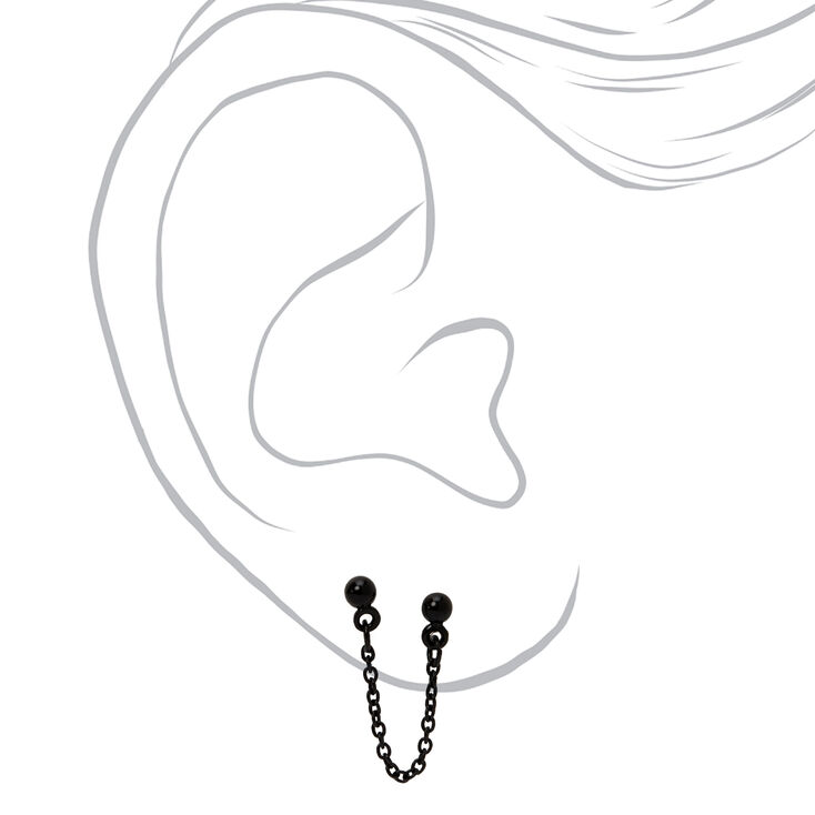 Black Ball Connector Chain Stud Earrings,