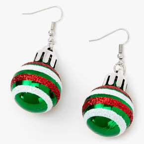 "Silver 2"" Striped Ornament Drop Earrings,"