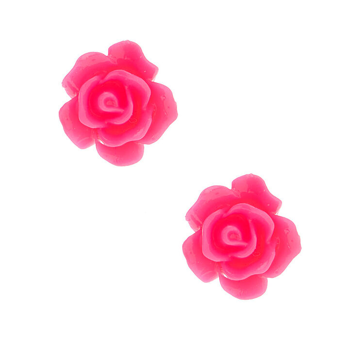 Rose Stud Earrings - Neon Pink,