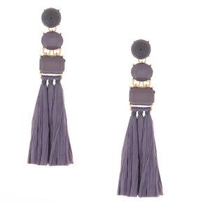 Raffia Drop Earrings - Gray,