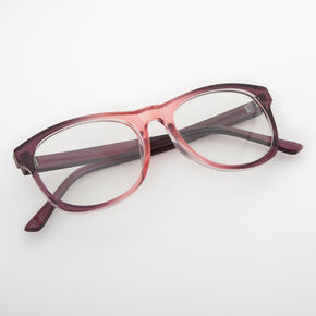 Pink Ombre Retro Clear Lens Frames,