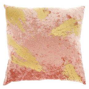 Gold Foil Velvet Pillow - Pink,