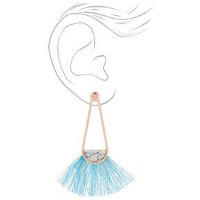 """2"""" Marbled Tassel Drop Earrings - Blue,"""