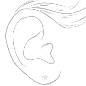 Sterling Silver Daisy Stud Earrings - White,