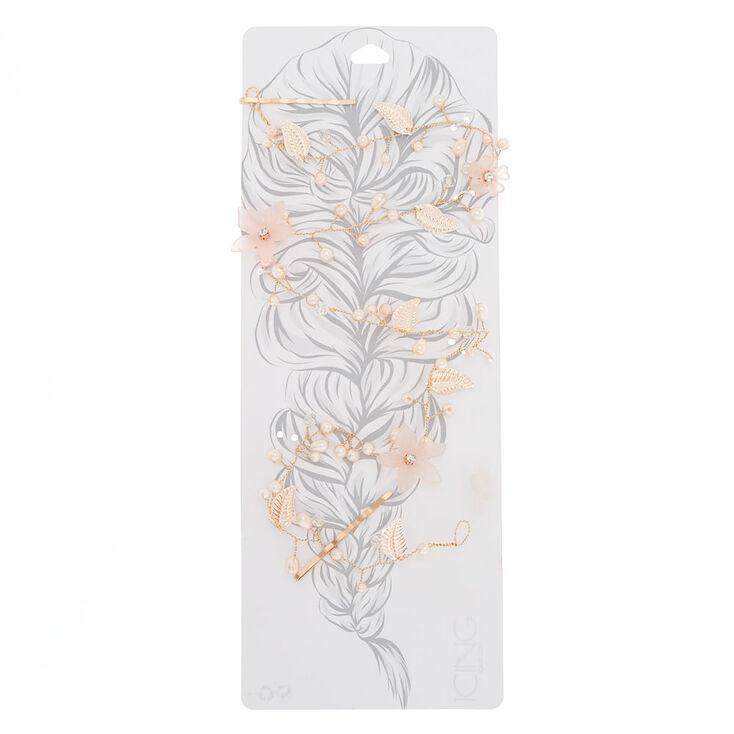 Rose Gold Frosted Flower Hair Vine,