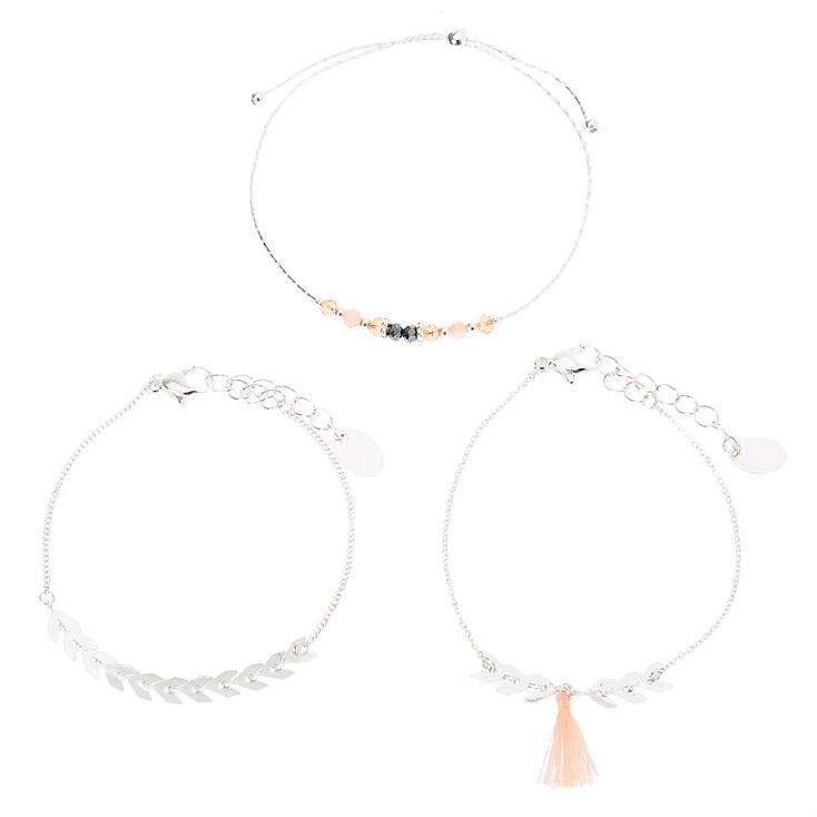 Silver Chevron Tassel Bracelets - Blush Pink, 3 Pack,