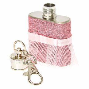 Pink Bridesmaid Flask Keychain,