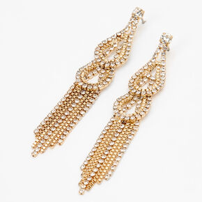 "Mixed Metal 2.5"" Double Teardrop Linear Drop Earrings,"