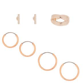 Rose Gold Earrings, 3 Pack + Free Ear Cuff,