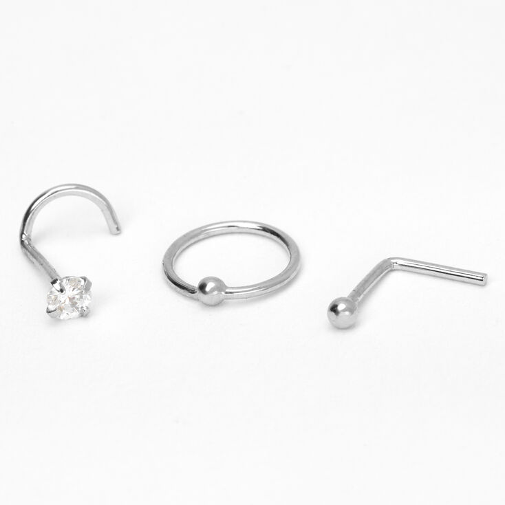 Silver 20G Ball & Stone Mixed Nose Rings - 3 Pack,