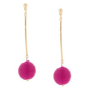 "2.5"" Threaded Ball Stick Drop Earrings - Magenta,"