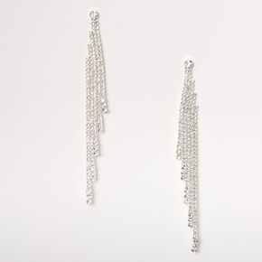 "Silver Rhinestone 3.5"" Tiered Linear Drop Earrings,"