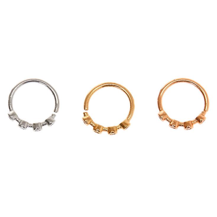 Mixed Metal 20G Crystal Cartilage Hoop Earrings - 3 Pack,