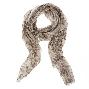 Black & White Knit Snake Print Scarf,