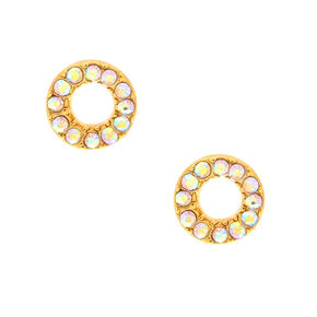 18kt Gold Plated Pave Open Circle Earrings,