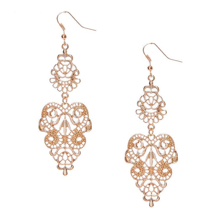 Rose Gold Filigree Drop Earrings,